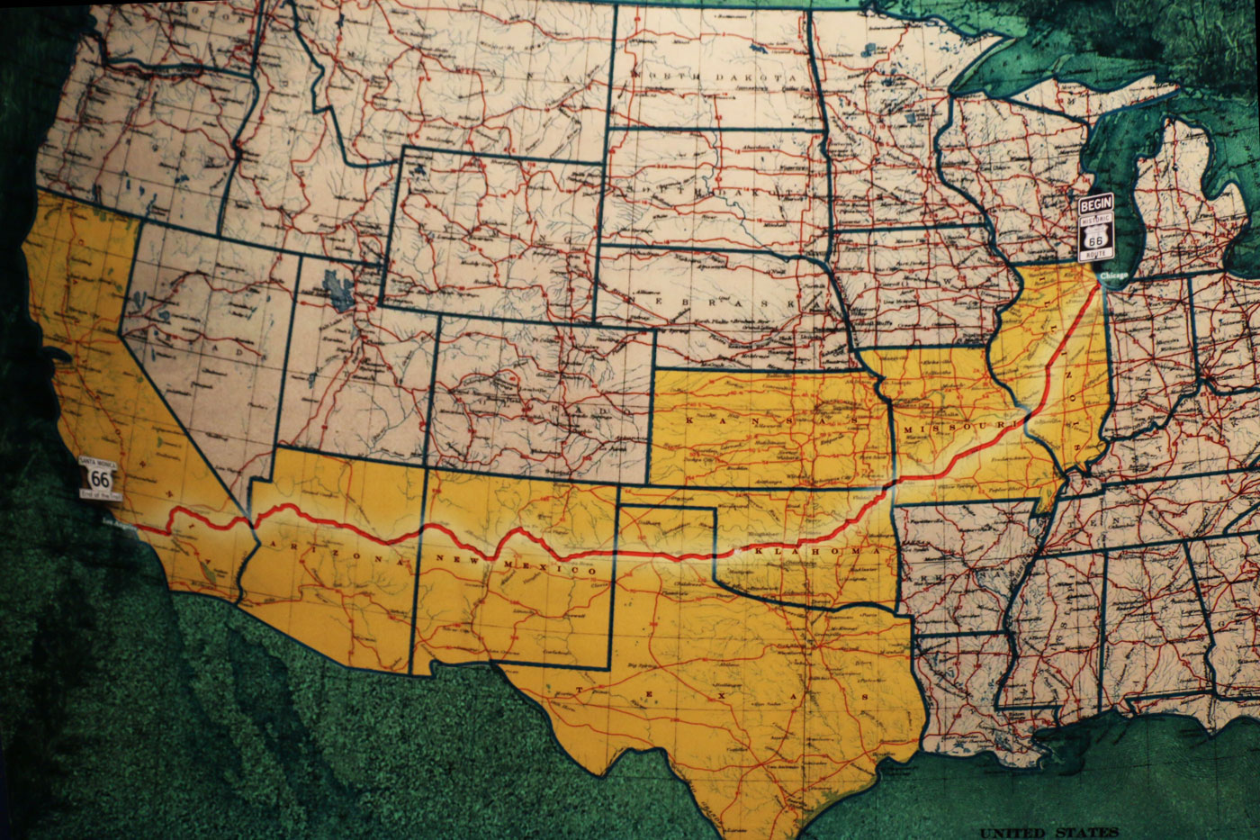 Map Us States Route 66 Choice Image